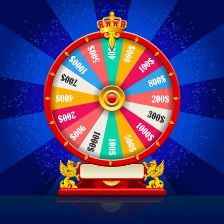Fortuin wiel realistische vector spinnen gelukkige roulette 3D plat modern geluk concept voor web sjabloon illustratie Vector Illustratie