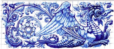 Blue dragon azulejo indigo ceramic tile magnet souvenir. Realistic detailed vector floor pattern ornament ornate illustration Stock Vector - 79709855