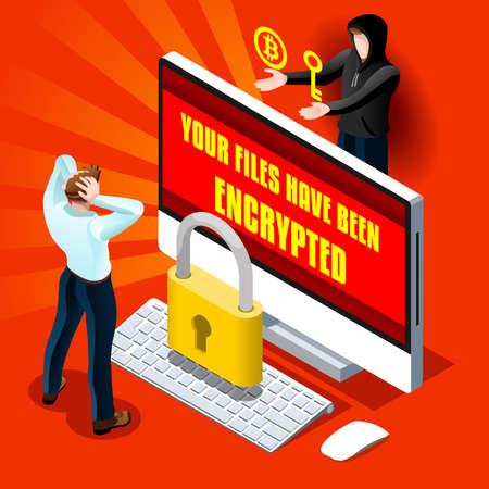 Ransomware malware wannacry symbol cyber attack concept computer infection infographic. Vector illustration with 3D flat isometric realistic detailed people