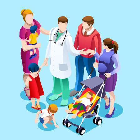 Medische huisarts die aan familie van pediatrische patiënt spreekt. Familie zorg concept met isometrische mensen vector ziekenhuis team illustratie in platte ontwerp Stock Illustratie