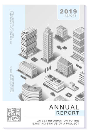 Financial newsletter annual report or proposal vector clean gray monochrome filter template plain modern design for freelance or consultant professionals