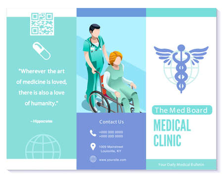 Vector medical clinic trifold brochure simply modern design with clean blue and white background. Illustration
