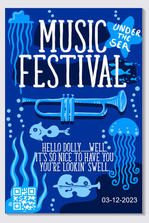 Music poster for jazz band live festival with trumpet music instrument. Colorful flat modern concert cover template for vinile with bugle and music notes isolated vector illustration design Stock Vector - 80953648