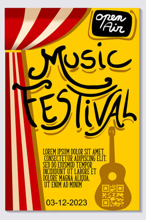 Music poster for jazz band live festival with music instruments. Colorful flat modern concert cover template for vinile with guitar and music notes isolated vector illustration design