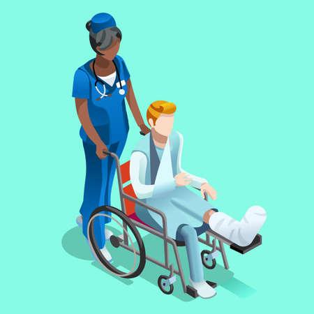 黒女性看護師が先輩の車椅子男性人患者を押します。病院のインテリアは部屋分離フラット 3次元等尺性のベクトル図です。