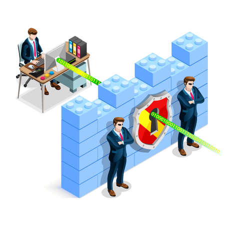 Network security concept with firewall blocks cyber attack flat isometric vector illustration. Illustration