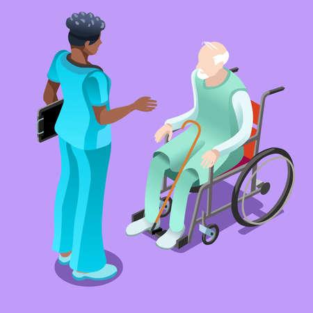 흑인 여성 간호사 또는 휠체어에 앉아 노인 환자에 게 얘기하는 의사의 의료 팀 그룹. 일러스트