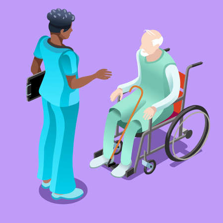 home care nurse: Medical team group of black female nurse or doctor talking to elderly patient sitting in wheelchair. Illustration
