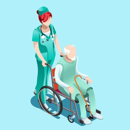 Senior femme infirmière poussant personne âgée patient en fauteuil roulant. Intérieur clinique de l'hôpital infographique infographique isolé plat 3d isométrique illustration vectorielle.