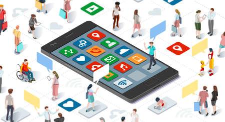 Conectando a la gente y los medios sociales plantilla vectorial gráfico con elementos planos isométricos personas y dispositivos smartphone ilustración Ilustración de vector