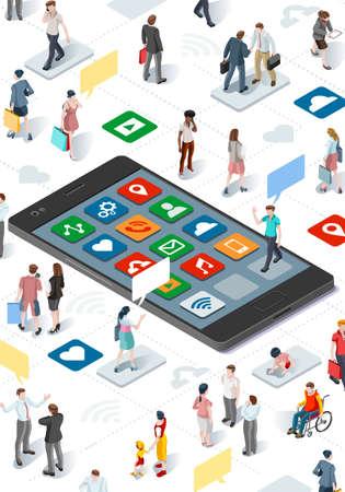 사람과 소셜 미디어 연결 그래픽 벡터 템플릿 플랫 아이소 메트릭 요소 사람들과 스마트 폰 장치 그림