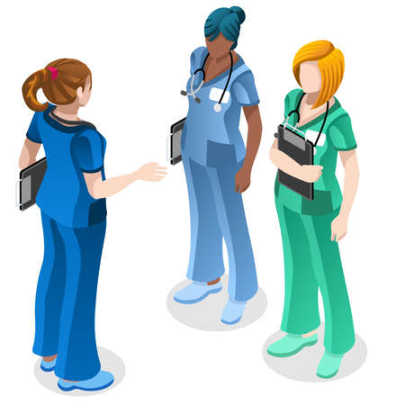 Clinic nurse education training meeting situation with group of doctor and nurses talking together. Healthcare hospital medical team flat vector isometric people illustration Illustration