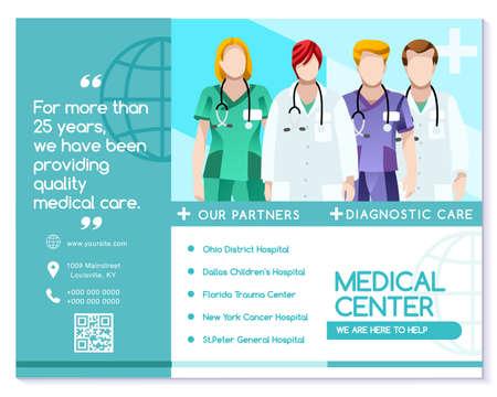 Vector medische kliniek trifold brochure eenvoudig modern design met schone blauwe en witte achtergrond.