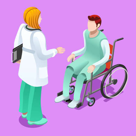Medical team group of female doctor talking to male patient sitting in wheelchair. Hospitalization concept with isometric people vector hospital team illustration in flat design