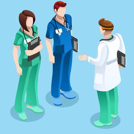 Kliniek verpleegkundige opleiding training ontmoetingssituatie met een groep van artsen en verpleegkundigen samen praten. Stock Illustratie