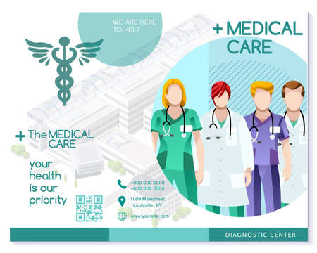 Vector medical clinic trifold brochure simply modern design with clean blue and white background. Ilustracja