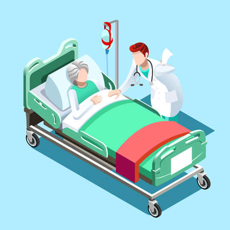Flat 3D illustration Isometric interior of hospital room. Doctors treating the patient. Hospital clinic interior operation ward cells flat 3d isometry isometric concept web vector illustration.