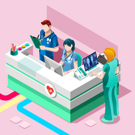 Clinic nurse station hospital team education training meeting situation with group of doctor and nurses talking together, Healthcare medical team flat vector isometric people illustration