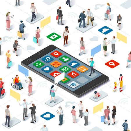 Conectando a la gente y los medios sociales plantilla vectorial gráfico con elementos planos isométricos personas y dispositivos smartphone ilustración