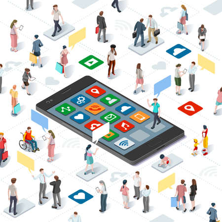 Connecting people and social media graphic vector template with flat isometric elements people and smartphone devices illustration
