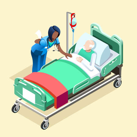 Medical team group of black female nurse or doctor talking to elderly patient in bed, Hospitalization concept with isometric people vector hospital team illustration in flat design