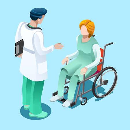 車椅子に座っている女性患者は、フラットなデザインのアイソ メトリック人々 ベクトル病院チーム イラスト入院コンセプト話男性医師の医療チー
