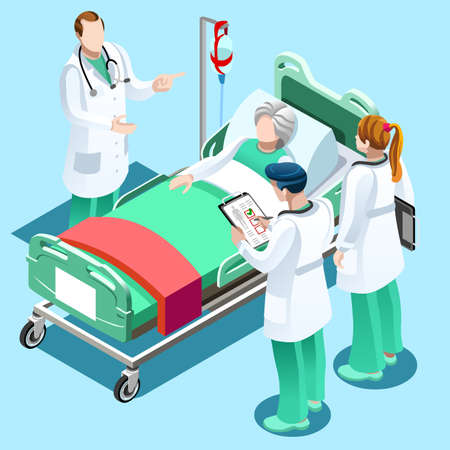 Clinic nurse education training meeting situation with group of doctor and nurses talking together, Healthcare hospital medical team flat vector isometric people illustration
