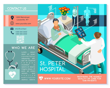 Vector medical clinic trifold brochure simply modern design with clean blue and white background. Ilustrace