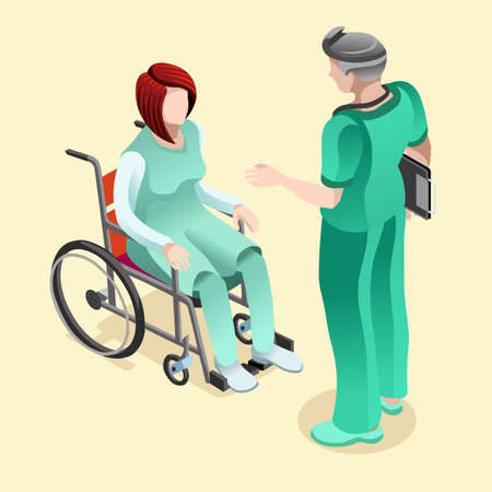 Medical team group of male nurse or doctor talking to female patient sitting in wheelchair. Hospitalization concept with isometric people vector hospital team illustration in flat design
