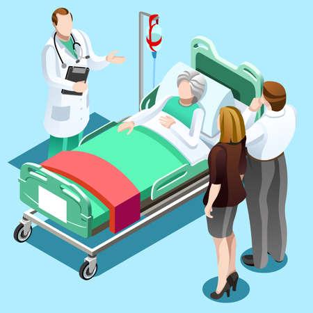 病室のフラット 3 D イラストレーション等尺性インテリア。医師が患者の治療します。病院クリニック内部演算区セルはフラット 3 d アイソ メトリッ