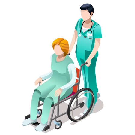 Senior male nurse pushing female person patient in wheelchair. Hospital clinic interior room isolated flat 3d isometric vector illustration.