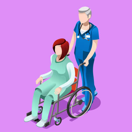 Senior male nurse pushing female person patient in wheelchair. Hospital interior room infographic isolated flat 3d isometric vector illustration.