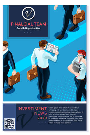 Financial newsletter annual report or proposal vector clean blue template plain modern design for freelance or consultant professionals