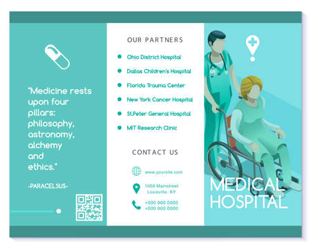 Vector medical clinic trifold brochure simply modern design with clean blue and white background. 向量圖像