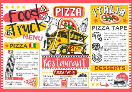 Food truck festival vector menu template design.