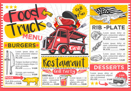 Food truck festival vector menu template design. Stock Vector - 81454782