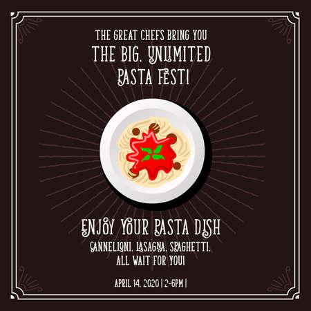 스파게티 이탈리아 요리 벡터 파스타 축제 템플릿입니다. 일러스트