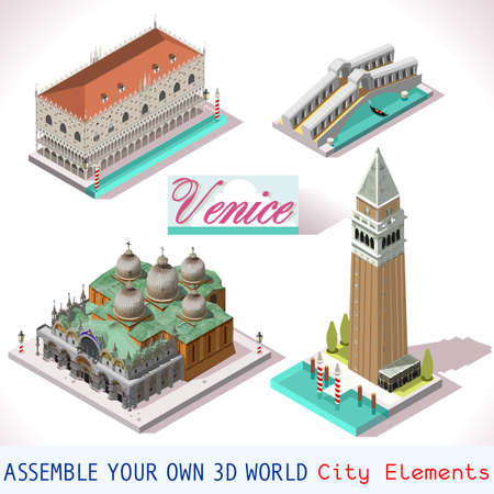 Venice isometric buildings vector game icon set