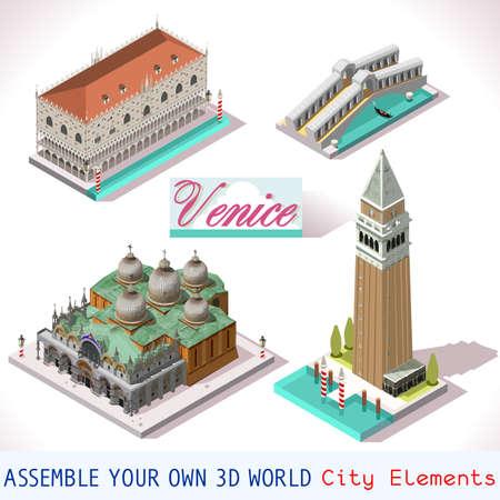 Venice isometric buildings vector game icon set