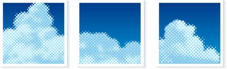 Halftone texture vector cloud illustration