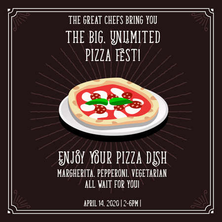 Pizza italian cookery vector invitation template.