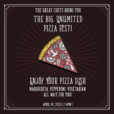 피자 이탈리아어 요리 벡터 초대 템플릿입니다.