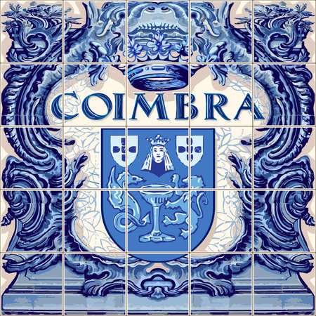 Coimbra Portugal ceramic tiles Portuguese symbol vector lapis blue illustration