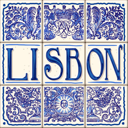 Lisbon Portugal ceramic tiles Portuguese symbol vector lapis blue illustration Illustration