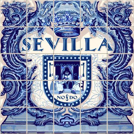 세비야 스페인어 세라믹 타일 스페인 기호 벡터 청금석 파란색 그림