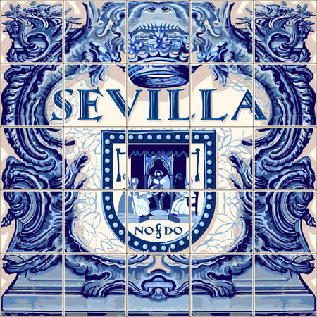 Seville Spanish ceramic tiles Spain symbol vector lapis blue illustration Illustration