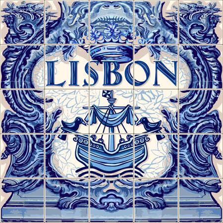 リスボン ポルトガルのポルトガル語シンボル ベクトル ラピスの青図をタイルします。  イラスト・ベクター素材