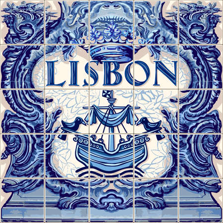 Lisbon Portugal ceramic tiles Portuguese symbol vector lapis blue illustration Иллюстрация