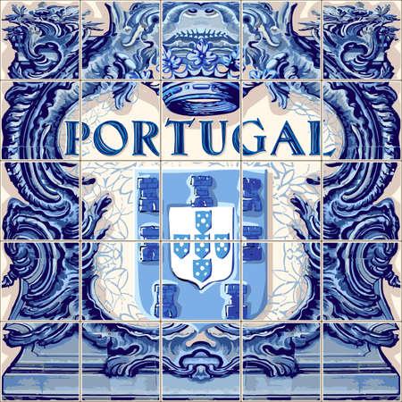 포르투갈 기호 포르투갈어 세라믹 타일 벡터 청동 그림 파란색 일러스트