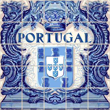 Portugal symbol Portuguese ceramic tiles vector lapis blue illustration